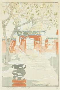 """Bertha Lum """"Chofu"""" Woodcut Print on Paper 1924"""