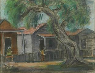 Dewey Albinson Row of Houses Pastel Drawing
