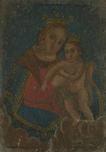Mexican Retablo Madonna and Child Painting