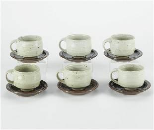 Set of 6 Warren MacKenzie Studio Ceramic Teacups w/