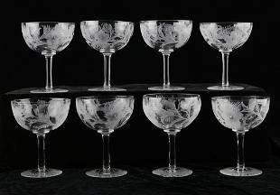 Set of 8 Cut Hand Blown Crystal Goblets