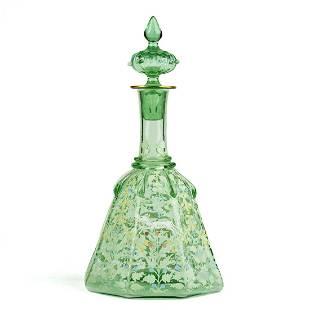 Late 19th c. Bohemian Enameled Vaseline Glass Decanter