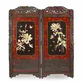 Japanese Two Panel Wood & Lacquer Floor Screen