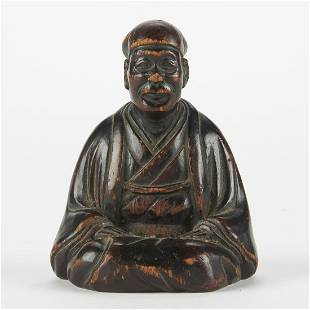 """Early Japanese Monk Carving """"Ryou Sai"""""""