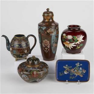 Grp: 5 Japanese Meiji Cloisonne Vessels