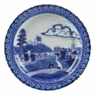 "17th c. Blue & White ""Deshima Island"" Pattern Pottery"
