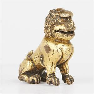 Chinese Gilt Bronze Foo Dog Guardian Lion Standing