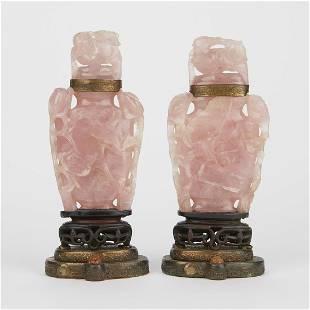 Pair of Chinese Rose Quartz Carvings