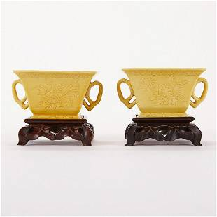 ~ Pair of Chinese Yellow Handled Porcelain Cups w/