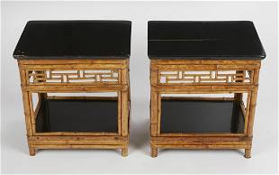 Pair of Chinese Bamboo Lacquer Side Tables