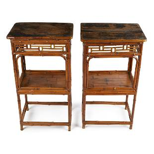 Pair of Chinese Bamboo 2-Tiered Side Tables