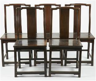 Set of 5 Chinese Wooden Chairs