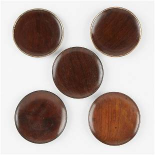 Set of 5 Chinese Qing Rosewood Saucers