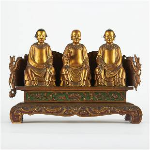 Chinese Gold Lacquer Wood Immortals on Bench