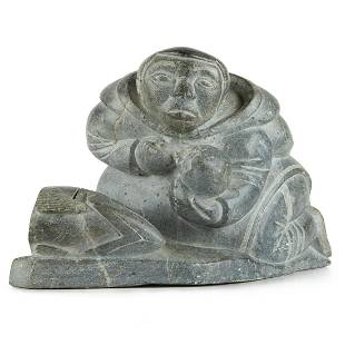 Large Inuit Carving Mother & Child
