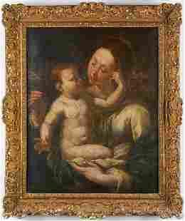 Flemish School Madonna and Child Oil on Canvas