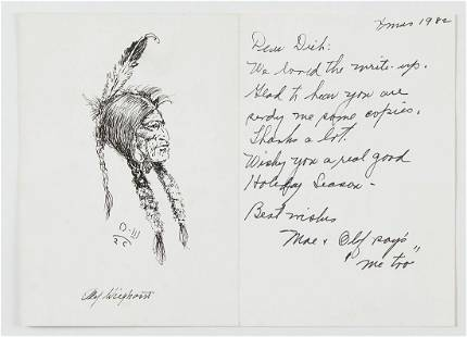 Olaf Wiegehorst Pen and Ink Portrait of Native American