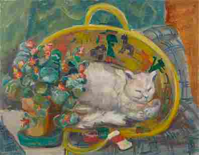Elizabeth Grant Cat Painting on Board