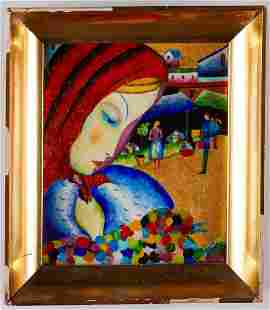 Rena Rosenthal Painting Woman w/ Flowers