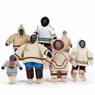 Grp 7: Inuit Dolls w/ Stone Heads & Cotton Twill