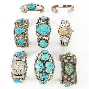 Grp: 8 Navajo Turquoise Sterling Cuff Bracelets