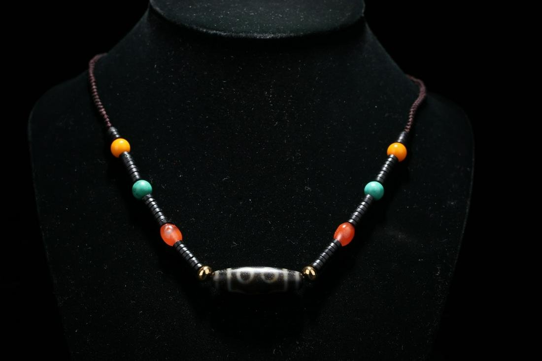 Old collection natural enamel necklace