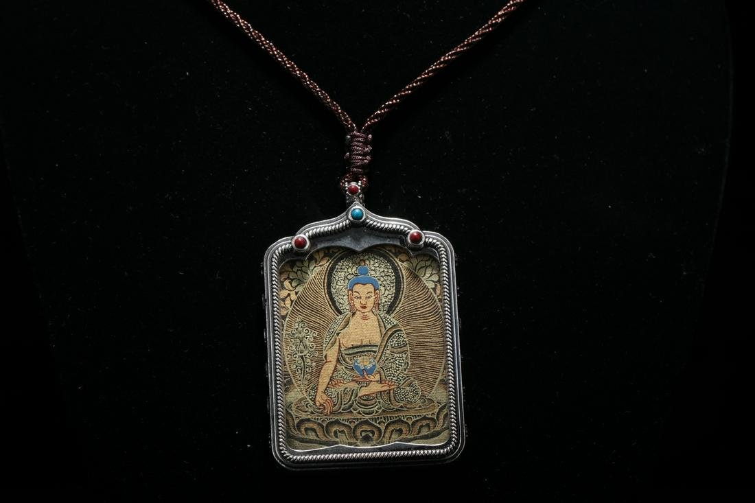 Old collection pure silver buddha plaque