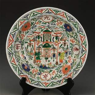 Ming dynasty plate with colorful painting