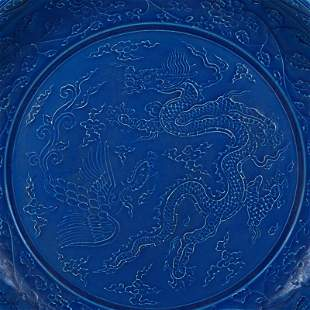 Ming dynasty blue plate with dragon painting
