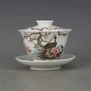 Covered tea cup with peacock painting