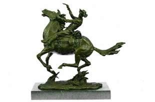 Signed Cowboy Remington Horse Bronze Sculpture Figurine