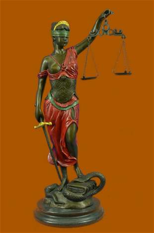 Bronze Blind Lady of Justice Scales Law Lawyer Attorney