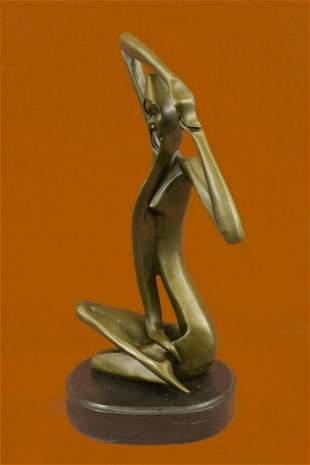 Art Deco Bronze Sculpture Statue Figure Abstract Girl