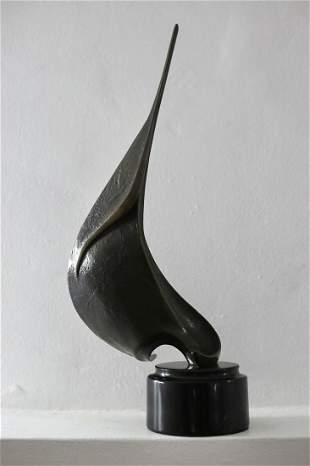 Abstract Bronze Sail Sculpture MCM circa