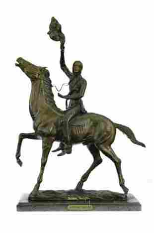 Remington Bronze Statue BUFFALO SIGNAL Indian Horse