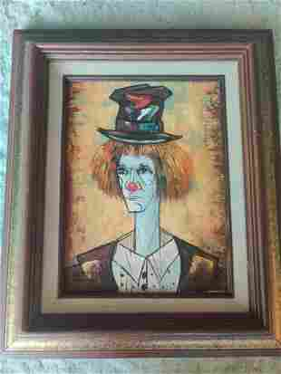 'Chester' Framed Clown by Clement Original Oil Painting