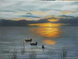 """Sunset on the Lake"" original oil painting"