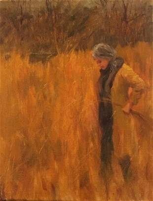 Woman in Fall Landscape oil painting by Margaret Aycock