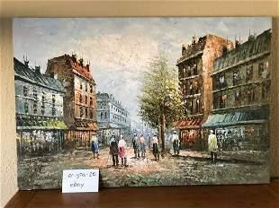 Original Signed Oil Painting City Street