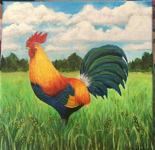 Original Oil Painting Rooster Field