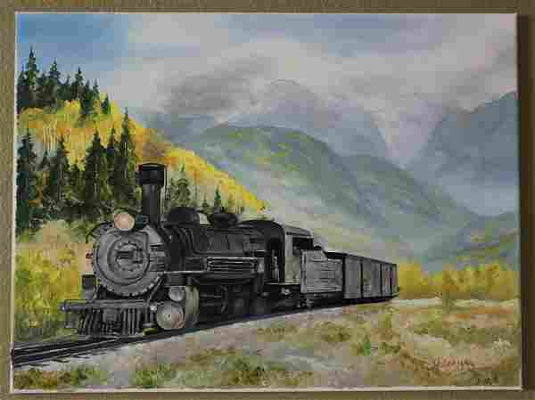 Oil Painting Locomotive in Mountains Landscape Original