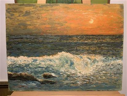 unknown mystery signed antique beach sunset painting