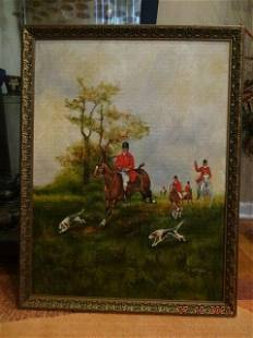"""Vintage oil painting on canvas """"English Fox Hunting"""" by"""