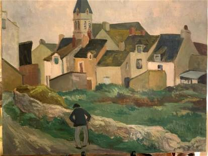 "Original Vintage French Oil Painting ""Saint Brianâ€"