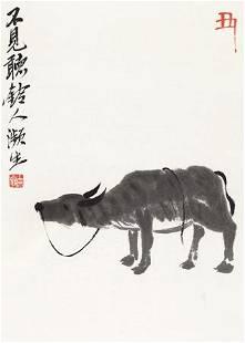 Cow painting by Qi Bai Shi