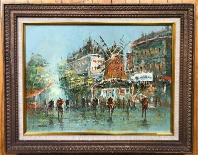 Vintage French Oil Painting on Canvas Moulin Rouge