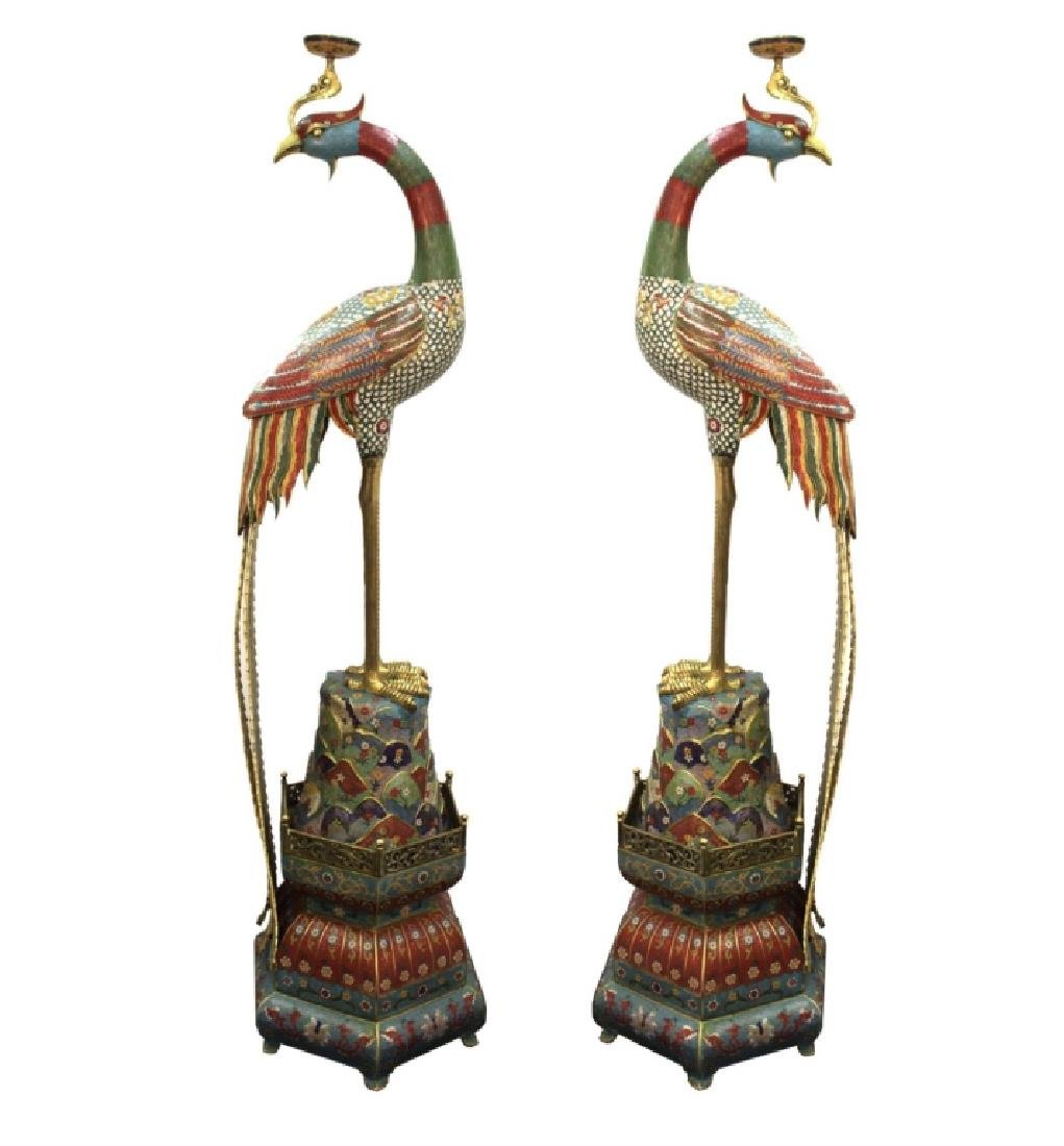 Pair of Large Chinese Cloisonne Phoenix