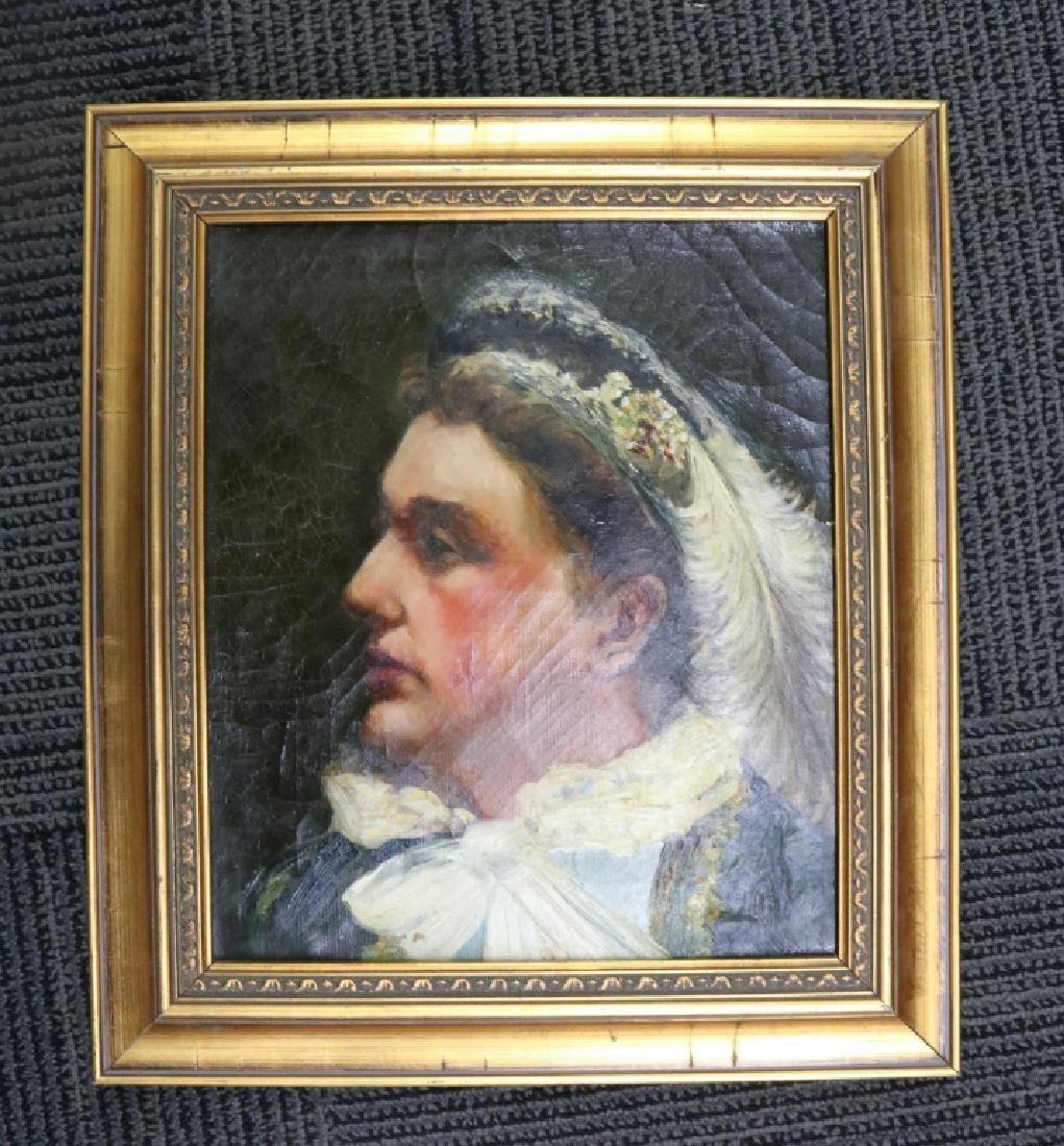1890s Famed Oil on Canvas