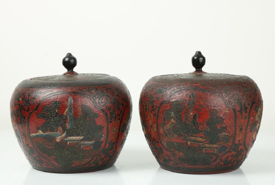 A Pair of Korean Wood Jar