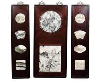 Chinese Marble Dream Stone In 3 Rosewood Frame